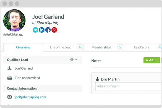 Connect socially to each lead in your CRM