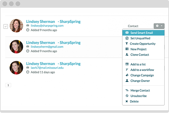 SharpSpring's contact manager makes it easy to email smart!