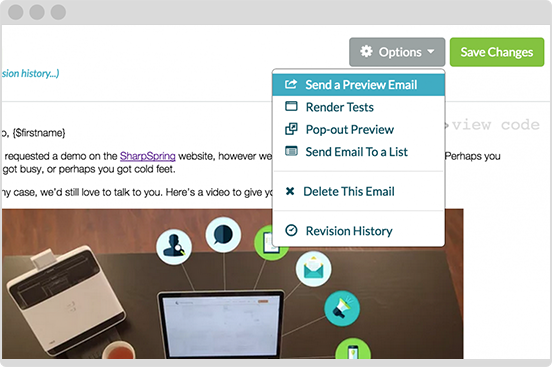 Send email tests to preview your email before you send.